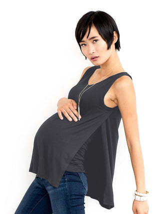 charcoal nursing maternity tank top