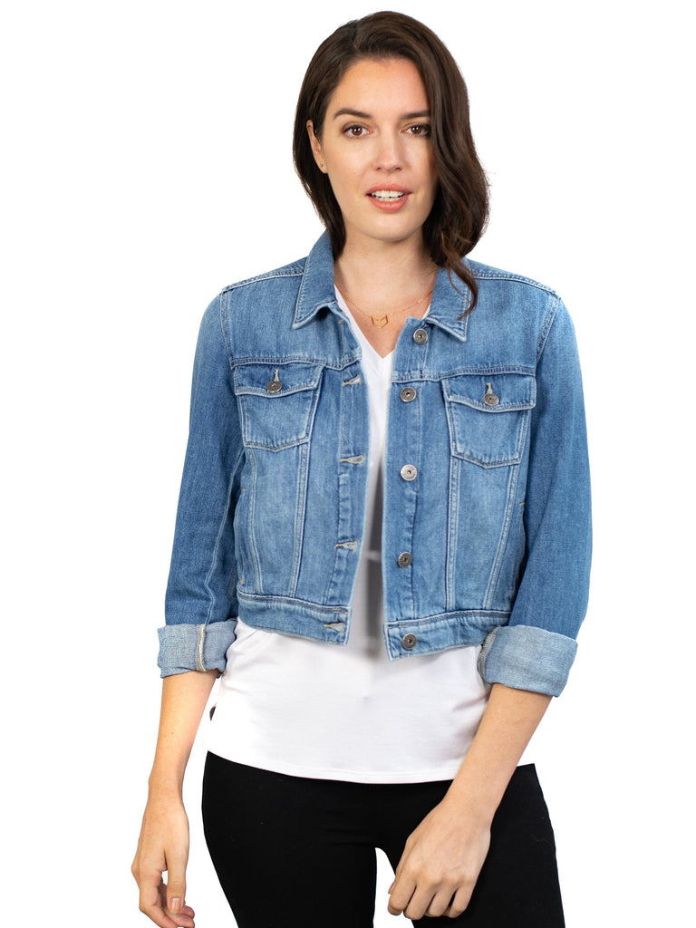 paige denim light wash jacket