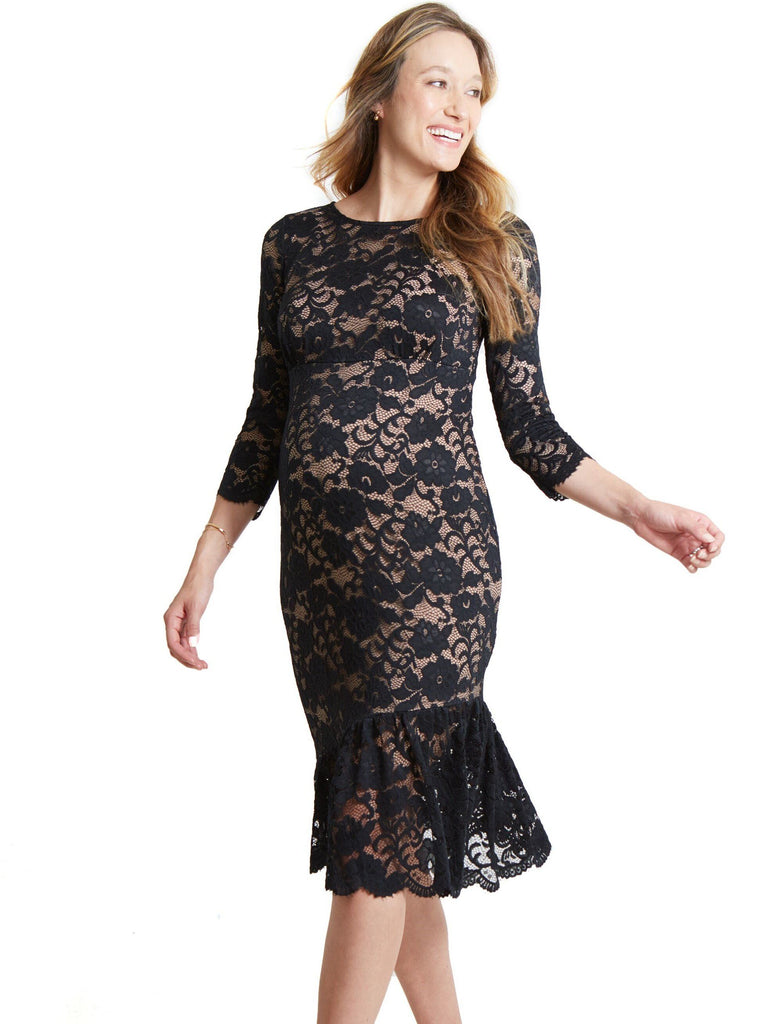 Flounce Hem Lace Dress
