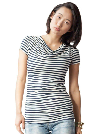 navy white stripe nursing maternity top