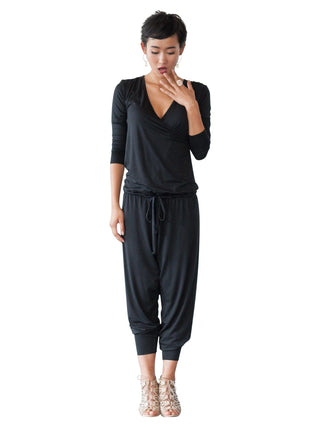black long sleeve maternity nursing jumpsuit