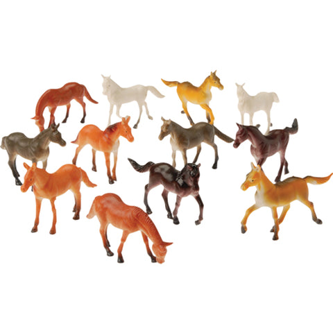 HORSE - SMALL VINYL ASSORTED COLORS 12 CT/PKG