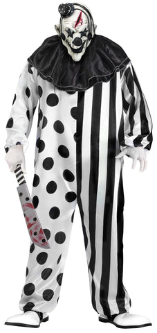 KILLER CLOWN BLACK AND WHITE ADULT COSTUME