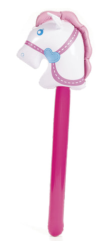 INFLATABLE STICK HORSE WHITE     1PC