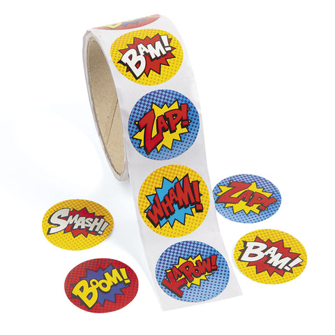 SUPERHERO ROLL STICKERS 100PCS/ROLL