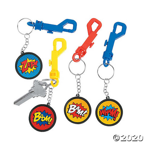 SUPERHERO BACKPACK CLIP KEYCHAINS