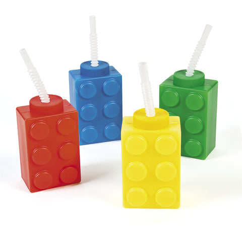 BLOCK PARTY MOLDED CUP EACH  W/STRAW  ASSORTED