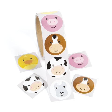 FARM ANIMAL ROLL STICKERS 100PCS/ROLL