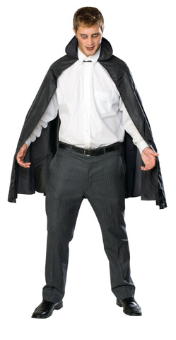 "CAPE - BLACK TAFFETA 45"" W/COLLAR"