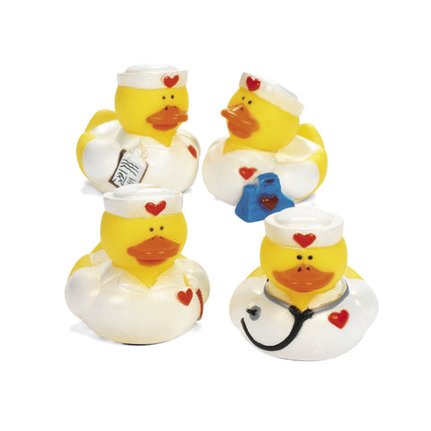 RUBBER DUCKS - NURSES ASSTD STYLES    12 CT/PKG