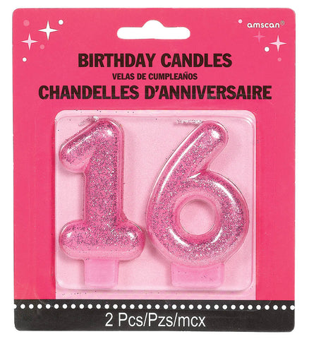 16TH BIRTHDAY PINK GLITTER CANDLE