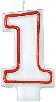 CANDLE - NUMERAL 1 RED/WHITE