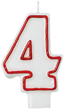 CANDLE - NUMERAL 4 RED/WHITE