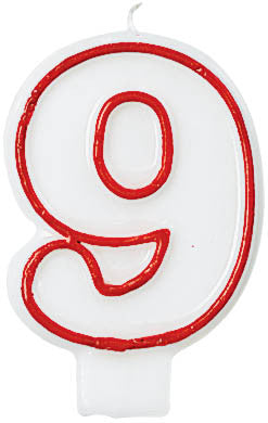 CANDLE - NUMERAL 9 RED/WHITE