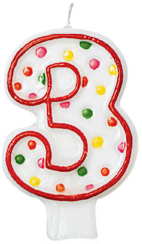 NUMERAL CANDLE  #3 POLKA DOTS