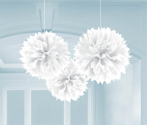 "FLUFFY DECOR BALLS 16""   3 CT/PKG  WHITE"