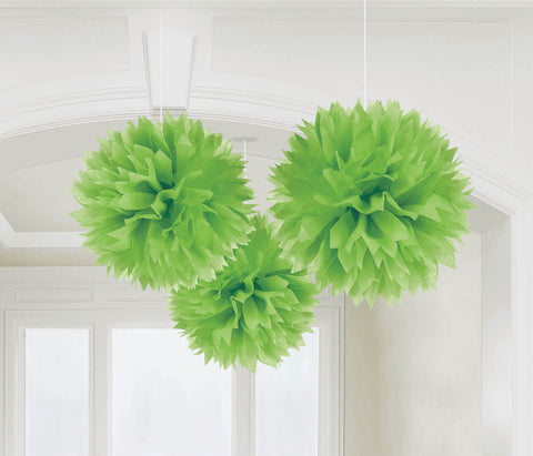 "FLUFFY DECOR BALLS 16""   3 CT/PKG  KIWI"