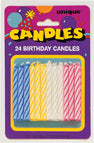 SPIRAL BIRTHDAY CANDLES MULTI COLOR     24 CT/PKG