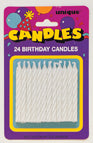 WHITE SPIRAL BDAY CANDLES 24 CT/PKG