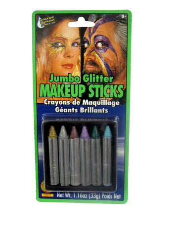 MAKE UP STICKS - JUMBO GLITTER          6 CT/PKG