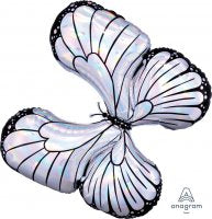SILVER HOLOGRAPHIC BUTTERFLY SUPER SHAPE MYLAR BALLOON