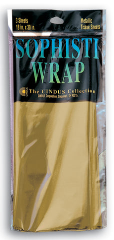 "SOPHISTI WRAP - GOLD 18"" X 30""  3/SHEETS"