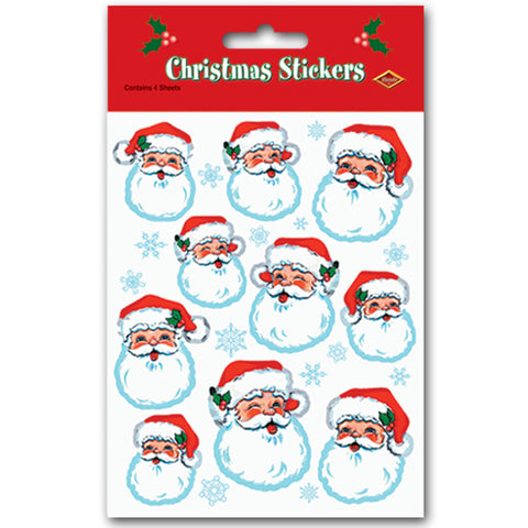 STICKERS - SANTA FACE              4 SHEETS/PKG