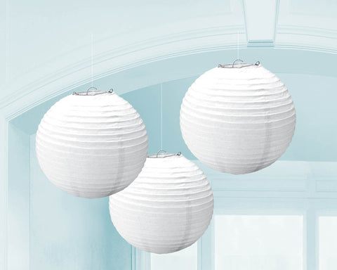 "PAPER LANTERNS - WHITE 9.5""             3 CT/PKG"