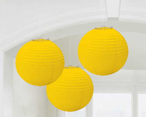 "PAPER LANTERNS - YELLOW 9.5""             3 CT/PKG"