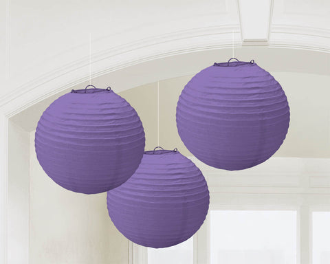 "PURPLE PAPER LANTERNS 9.5""             3 CT/PKG"