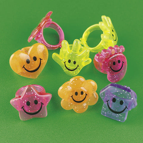 RINGS - SMILE FACE GLITTER         4 DZ/UNIT