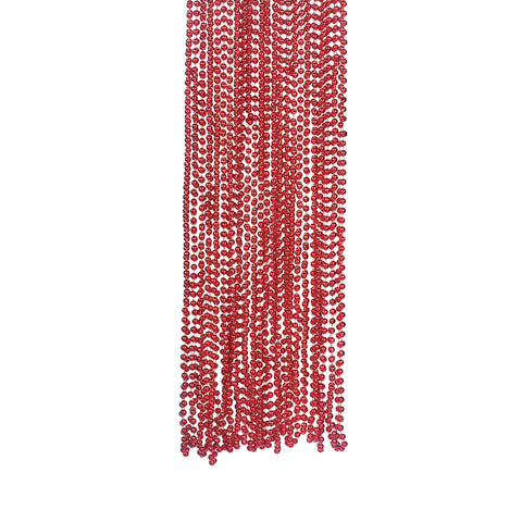 NECKLACE - RED METALLIC  BEADS 4 DZ/UNIT