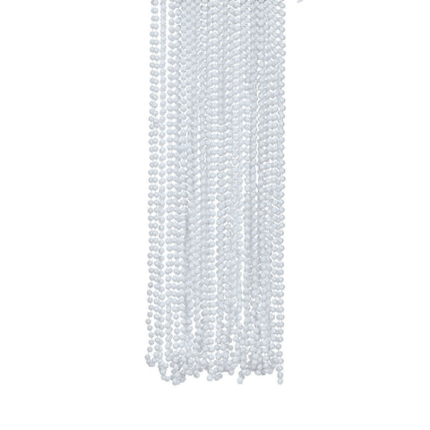 NECKLACE - WHITE METALLIC BEADS  4 DZ/UNIT