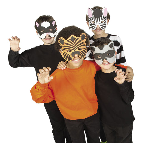 ANIMAL FOAM MASKS 12 PC