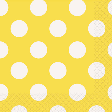 POLKA DOT NAPKINS YELLOW LUNCHEON 16PCS/PKG