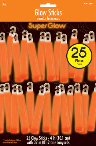 "4"" ORANGE GLOW STICKS 25 PACK"
