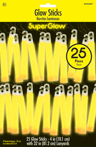 "4"" YELLOW GLOW STICKS 25 PACK"