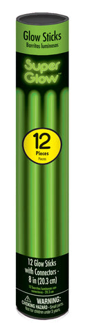 "8"" GREEN GLOW STICKS 12 PACK"