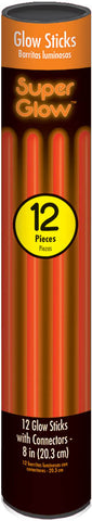 "8"" ORANGE GLOW STICKS 12 PACK"