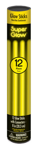 "8"" YELLOW GLOW STICKS 12 PACK"