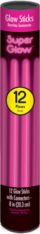"8"" PINK GLOW STICKS 12 PACK"