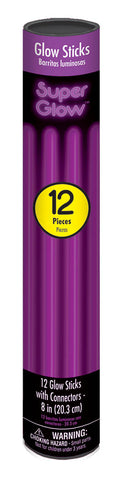 "8"" PURPLE GLOW STICKS 12 PACK"