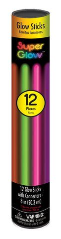"8"" ASSORTED GLOW STICKS 12 PACK"