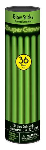 "8"" GREEN GLOW STICKS 36 PACK"