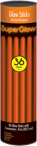 "8"" ORANGE GLOW STICKS 36 PACK"