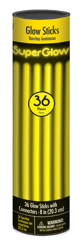 "8"" YELLOW GLOW STICKS 36 PACK"