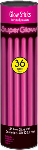 "8"" PINK GLOW STICKS 36 PACK"