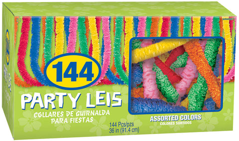"36"" ASSORTED COLOR POLY LEIS 144 PACK"