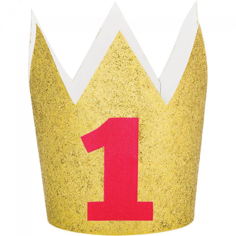 FIRST BIRTHDAY GOLD GLITTER CROWN WITH RED 1