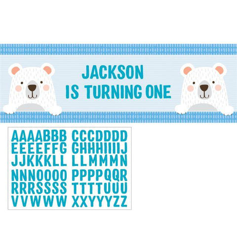 "BIRTHDAY BEAR PERSONALIZED BANNER 20"" X 60"""